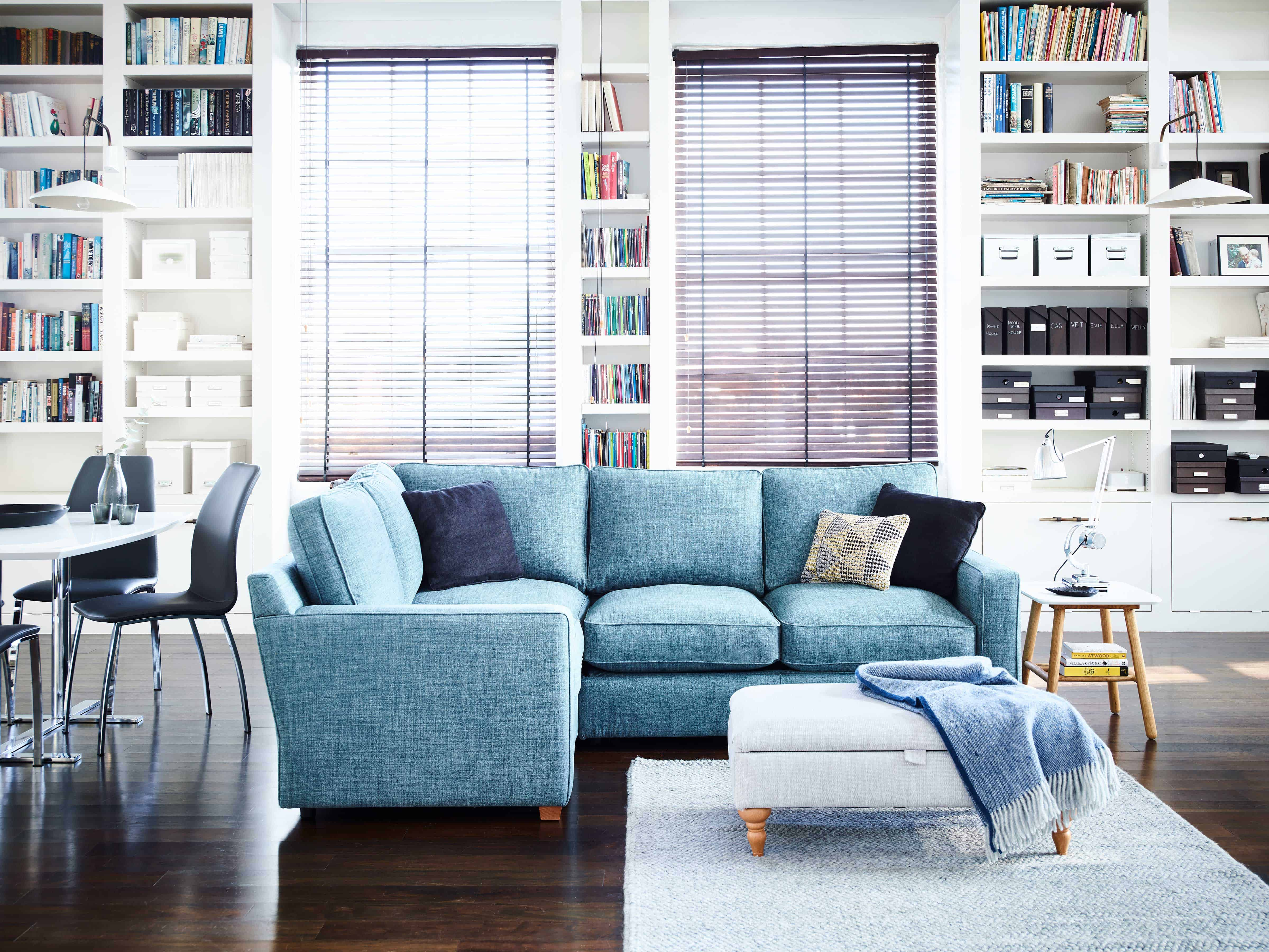Harvey's light blur corner sofa in a loft conversion living room.