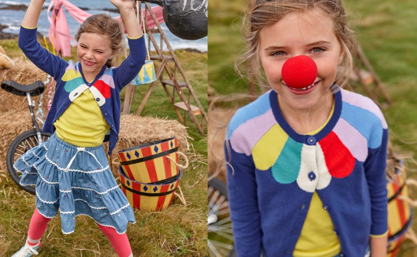 Mini Boden fashion Spring/Summer, circus themed. Hand made props made by Claire Morgan