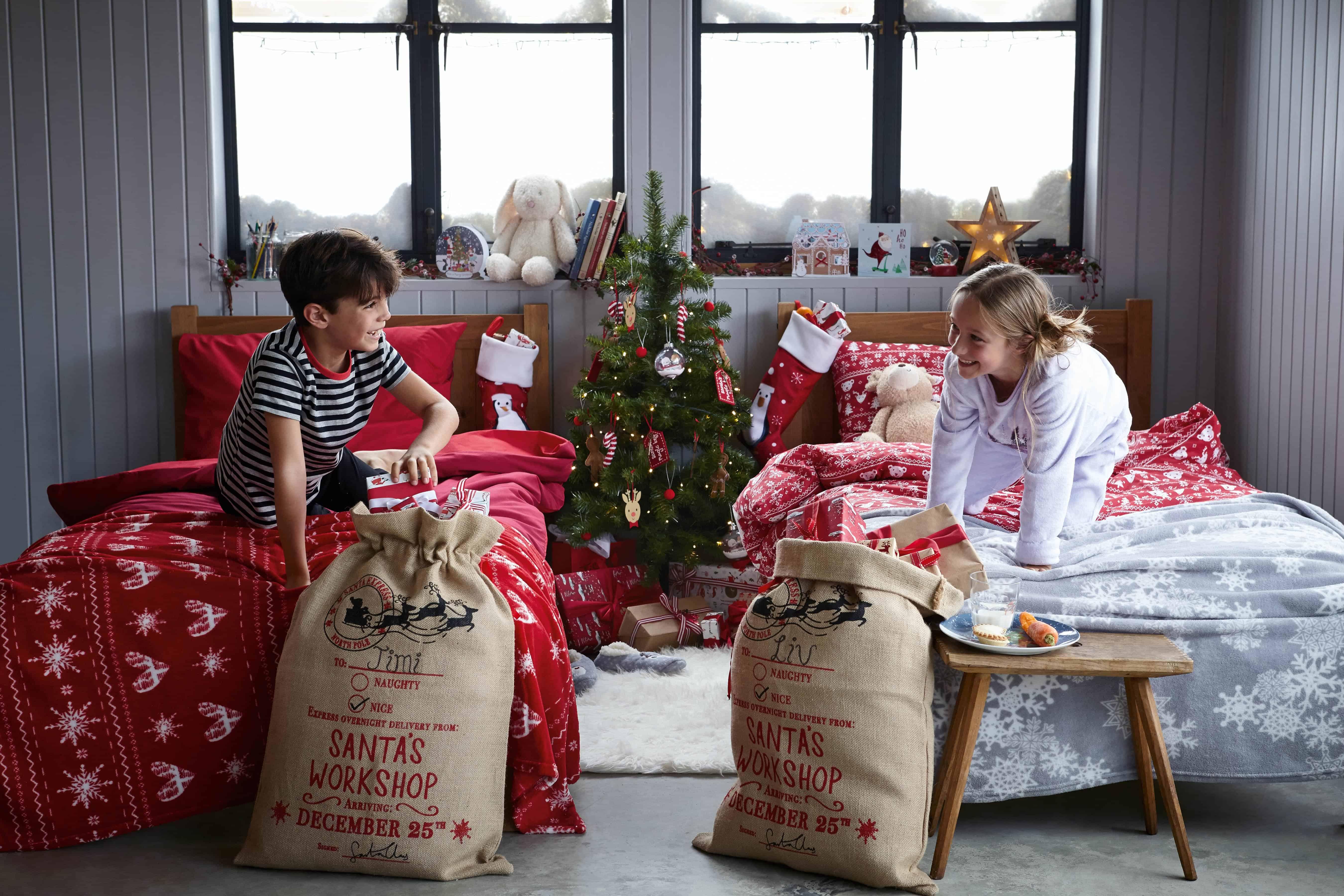 Tesco Gift Guide Christma morning kids presenst stocking bed linen