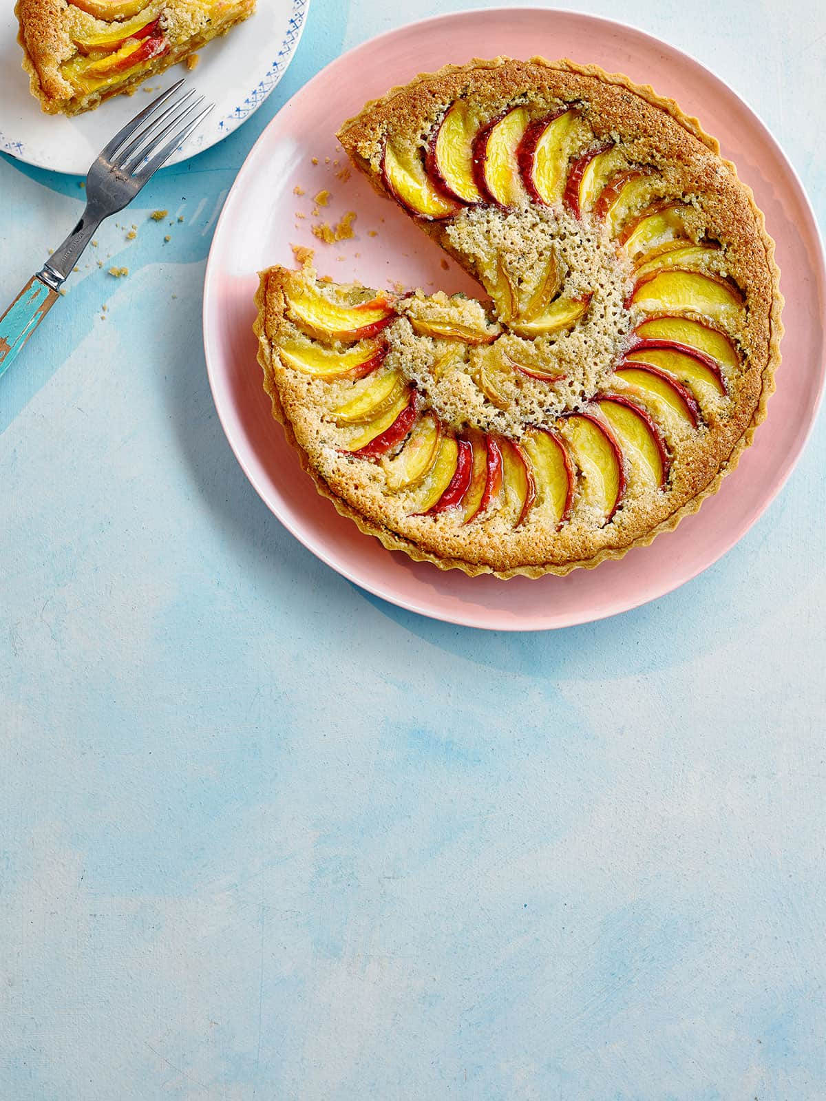 Ocado Life Food summer tart pink plates summer picnic blue backgrounds