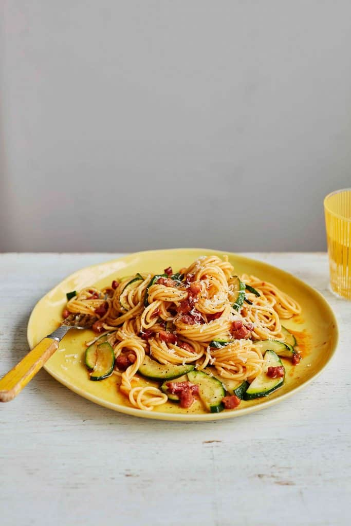 Ocado Life pasta dinner yellow plates food styling