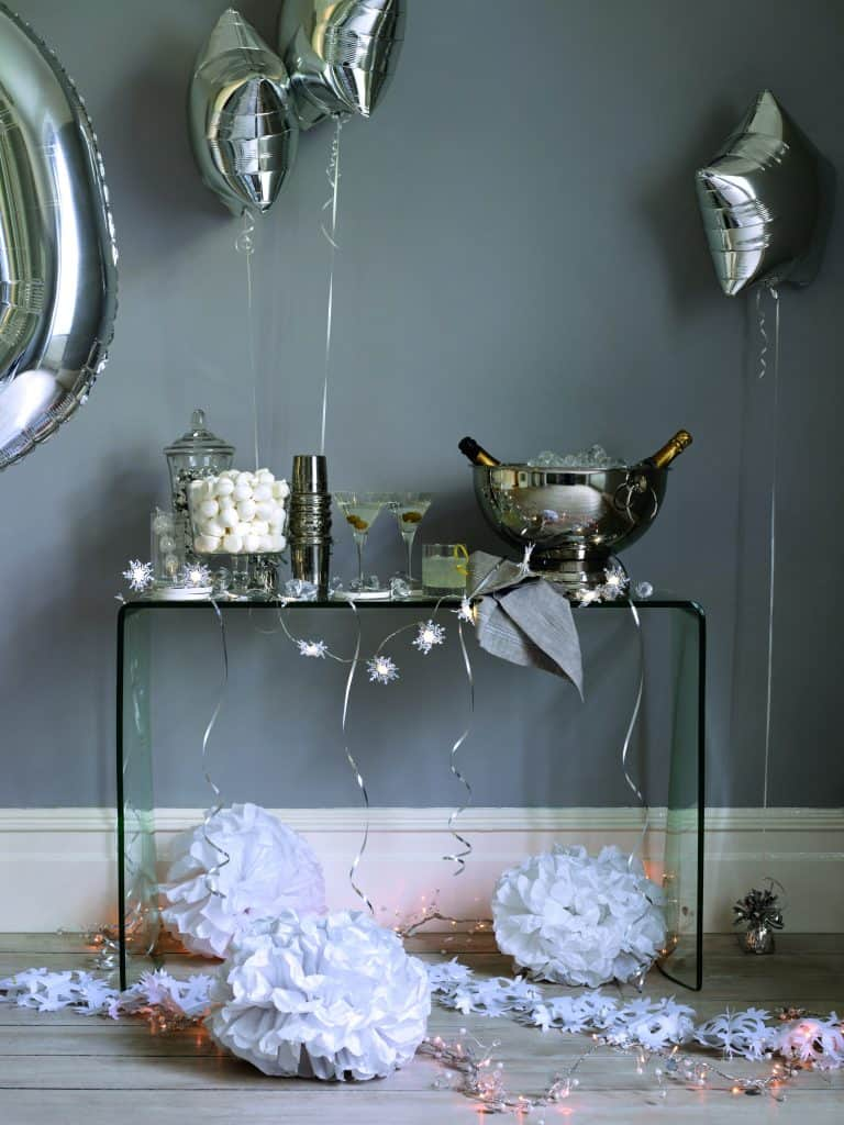 Still Life Party styling decorating Party new year eve balloons cocktails